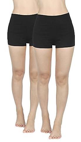 4How Femme Pantalon Court Short de Yoga Danse de Sport Shorty Lot de 2 Noir+Noir, Taille XL