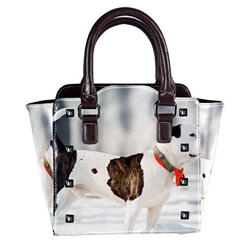Nananma Handtasche mit Tragegriff für Damen, Leder, Umhängetasche, Umhängetasche, Umhängetasche, mit lustigem American Bulldog-Print, Umhängetasche, Umhängetasche, Hobo-Tasche, Handtasche -