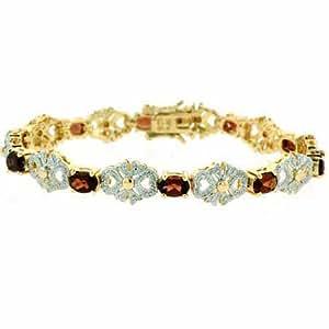 18K Gold over Sterling Silver Genuine Garnet Filigree Tennis Bow Bracelet