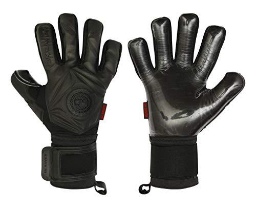 GK Saver Torwart-Handschuhe 3D Black Out Negative Cut, Profi-Qualität, 3D-Design, mit Fingerschutz, dunkles Black-Out-Design, personalisierbar, YES Fingersave NO Personalization, Größe 9