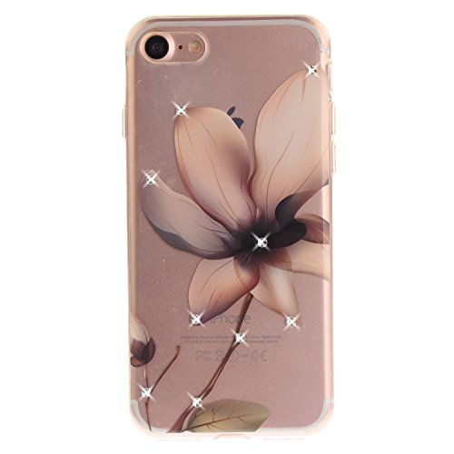 iPhone 7 Hülle, Voguecase Bling Silikon Schutzhülle / Case / Cover / Hülle / TPU + PC Gel Skin für Apple iPhone 7 4.7(Diamant-Rot Blume 03) + Gratis Universal Eingabestift Diamant-Magnolie