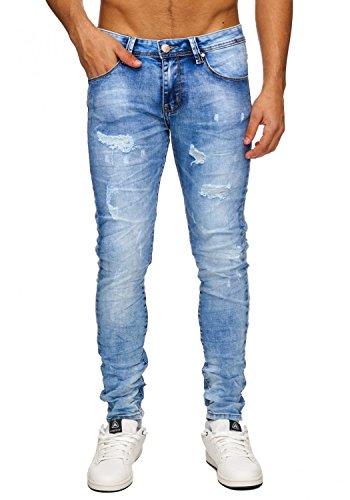 Herren Jeans · (Slim Fit) Helle Jeanshose Destroyed Stretch Bleached Used Denim, Stone Washed · H1755 in Markenqualität Blau