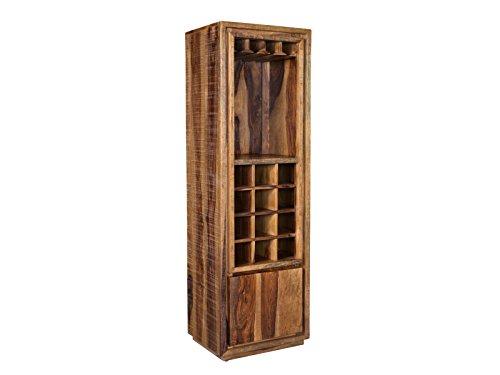 Woodkings Weinregal Blackdale Massivholz Palisander, Hochschrank Design Weinschrank Schublade, Sheesham Massiv Holzmöbel