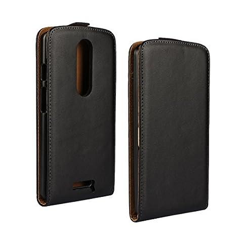 MOONCASE Moto X Force Case Housse en Cuir Étui pour Motorola Verizon DROID Turbo 2 / Moto X Force Coque Cover à rabat de Protection Noir