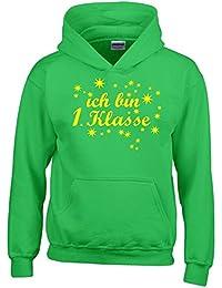 Ich bin 1. Klasse Hoodie Sweatshirt mit Kapuze für Jungs zur Einschulung Schulanfang Hoodie Sweatshirt mit Kapuze Gr. 116 128 140 152 cm