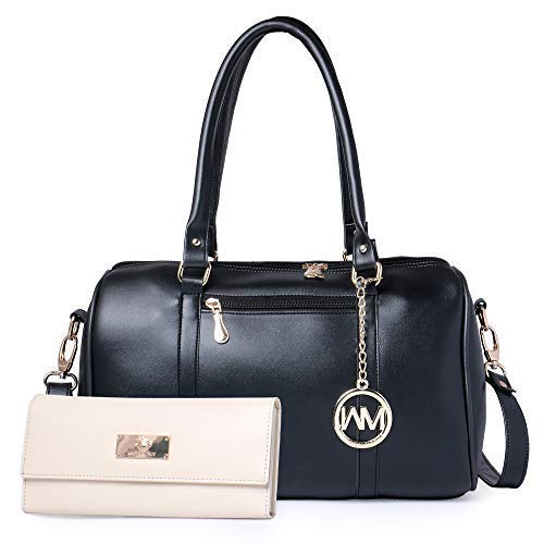 WOMEN MARKS Women's Polyester Handbag Combo (Black)