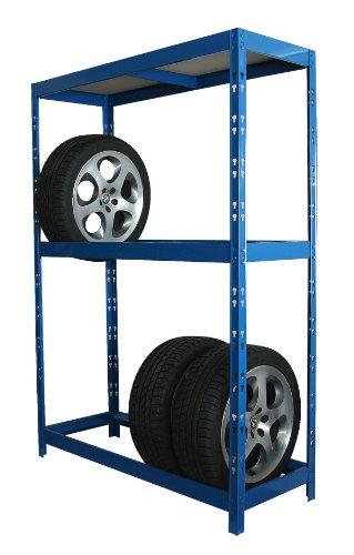 Reifenregal / Steckregal 180 x 130 x 50 cm, blau, für 8 Reifen + 1 Boden