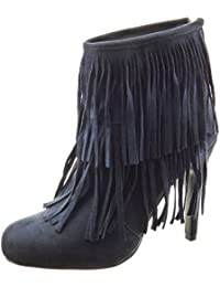 Sopily Zapatillas de Moda Botines A Medio Muslo Mujer Fleco Talón Tacón de Aguja Alto 11 cm - Azul