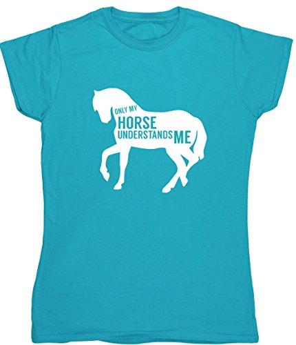 Hippowarehouse Pferd Versteht Me Damen Fitted Short Sleeve T-Shirt (bestimmte Größenangaben in der Beschreibung) Gr. XX-Large, Saphirblau (T-shirt Fitted Cowgirl)
