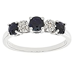Naava Eternity Ring, 9 ct White Gold Diamond and Sapphire Ring, Claw Set
