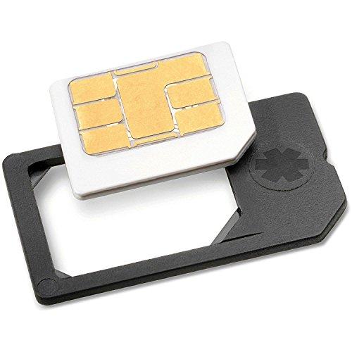 MicroSIM Adapter - PREMIUM QUALITÄT - MADE IN GERMANY - mit eingebauter Halterung (Farbe: Schwarz) für iPhone 4+iPad+Samsung Galaxy S4, S3 Micro SIM Karten zur Verwendung als normale Simkarte