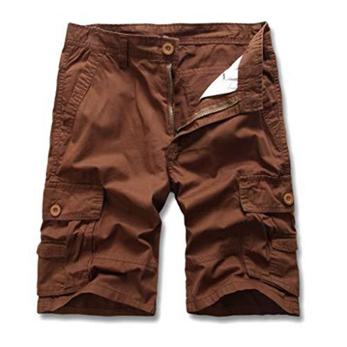 Velours-cargo Pocket-hosen (Cargo Hose Männer Kurz Shorts GreatestPAK Herren Einfarbig Cargo-Shorts Knopf Pocket Arbeitshorts Mode,Braun,EU:L(Tag:32))