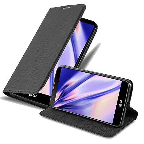 Cadorabo Hülle für LG Stylus 2 - Hülle in Nacht SCHWARZ - Handyhülle mit Magnetverschluss, Standfunktion und Kartenfach - Case Cover Schutzhülle Etui Tasche Book Klapp Style