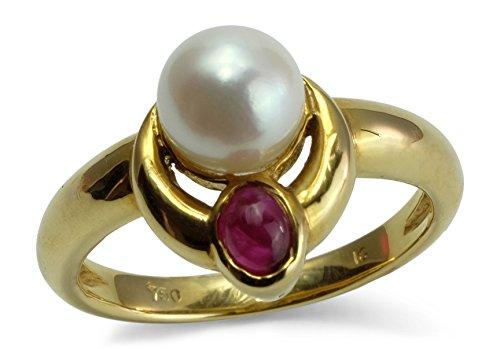 Damen Ring 18 ct 750 Gelbgold Akoya-Perle Rubin Größe 52 R04-A0045