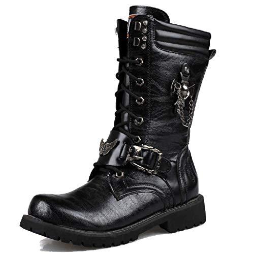 YXMYMM Martin Boots Punk Botas góticas para Hombre Cordón...