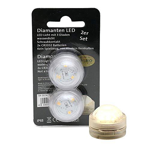 SIGRO Gold 2er Set Kunststoff LED-Tauch-Teelicht mit 3 Dioden wasserfest warmweiß 3 x 3 x 25 cm Ø 3 cm LED