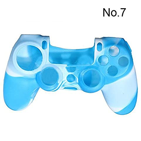 SODIAL(R) Camouflage Protective Silicone Case Skin Cover For Ps4 Controller Camo Mod HOT - Blue and white