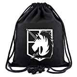 Cosstars Attack on Titan Anime Sporttasche Turnbeutel Training Tasche Gym Sack Drawstring Bag Schwarz-5