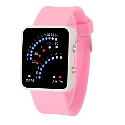 2017 orologio da polso Xmansky Donne Mens stile futuristico Sport LED Multicolor orologio (Rosa)