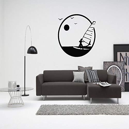 Geiqianjiumai Windsurfen Segeln Vinyl Aufkleber Wandtattoo Wohnzimmer Sofa Hintergrund dekorative Wand DIY selbstklebend schwarz 55x42cm