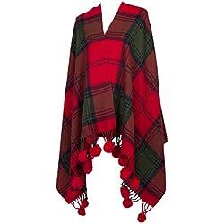 Sra Chal Bufandas Gruesa Tela Escocesa Caliente,Red-Medium