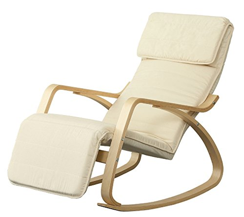 Orolay Neu-Schaukelstuhl Verstellbares Fussteil Relaxstuhl Relaxsessel Weiß