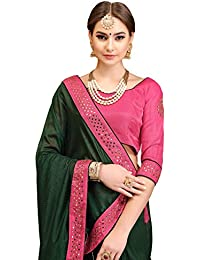 Soru Fashion Women's Cotton Silk Saree With Blouse Piece (3064_Dark Green)