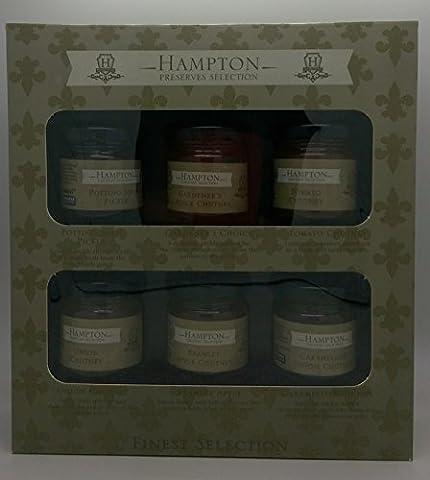Hampton Preserves Finest Selection Chutneys & Pickles Gift Set Mini 35g Jars, includes Potting Shed Pickle, Gardener's Choice Chutney, Tomato, Onion, Bramley Apple, Caramelised