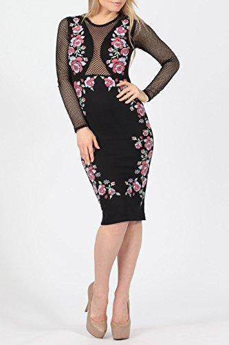 Mesdames Floral Fishnet Midi Dress EUR Taille 36-42 Floral noir