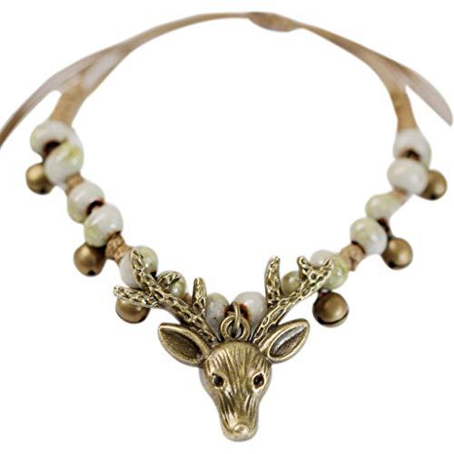 Groomy braccialetto a testa di cervo con perline in ceramica vintage unisex pendente a campana carino regolabile