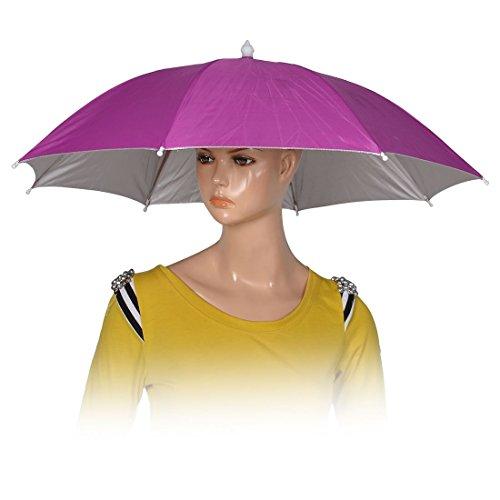 Fuchsia Polyester 8 Rippen Angeln Golf Sonne Regen Regenschirm-Hut-Kappe