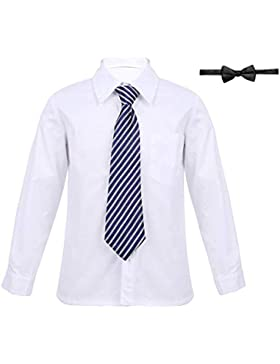 iiniim Niños Chicos Uniforme Escolar Mangas Largas Traje Formal Conjunto de Oxford Camisa Blanca + Corbata + Pajarita