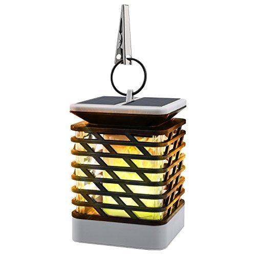 MoKo Solarflamme-Lichter imprägniern Fackel-flackernde Flamme Fackel LED im Freien hängende dekorative Beleuchtung für Festival-Garten-Rasen-Landschaftszaun-Straßen-Dekor, Schwarz