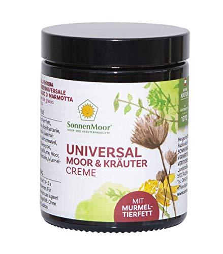 Sonnenmoor Universal Moor und Kräutercreme mit Murmeltierfett - Natürliche Murmeltiersalbe zur Einreibung und Pflege von Haut und Gelenken 140g - Kräuter-creme