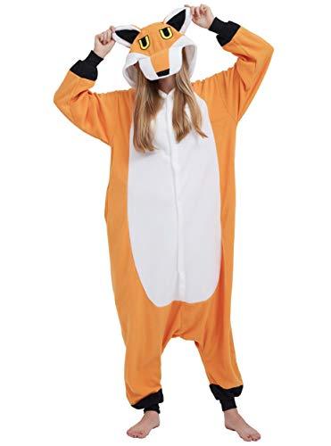Pijama Animal Entero Unisex para Adultos con Capucha Cosplay Pyjamas Zorro Ropa de Dormir Traje de Disfraz para Festival de Carnaval Halloween Navidad