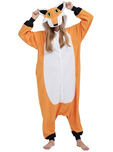 Jumpsuit Onesie Tier Karton Kigurumi Fasching Halloween Kostüm Lounge Sleepsuit Cosplay Overall Pyjama Schlafanzug Erwachsene Unisex Fuchs for Höhe 140-187CM