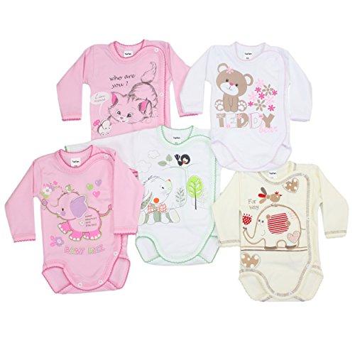 5er Pack Wickelbodys mit Aufdruck Mädchen Langarm Body Baby Bodys Set Jungen 100% Baumwolle, Farbe: Mädchen, Größe: 68