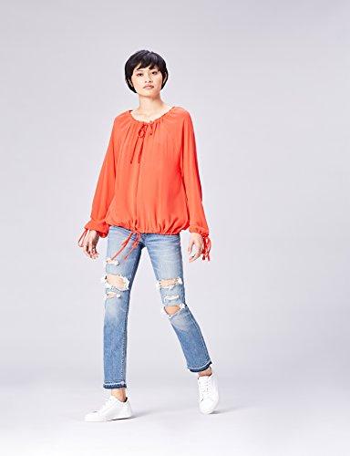 FIND Damen Bluse mit Schnüren Rot (Tomato)
