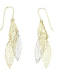 Lucchetta - Orecchini pendenti foglie Donna, oro bianco e giallo 9 kt (375) - 2BR7849