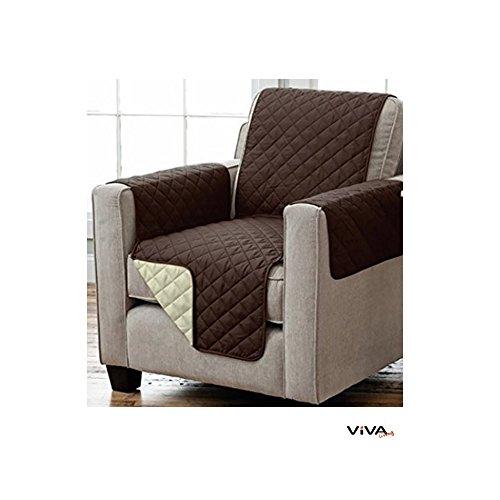 Wende Sesselschoner Sofaschoner Sesselschutz mit Armlehnen und Taschen 191 x 165 cm braun/beige