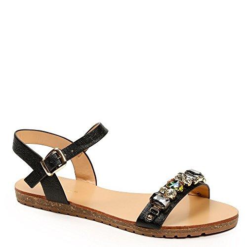 Ideal Shoes–Sandalen Flache Glitterlack mit Riemen verziert Strass Vaea Schwarz - Schwarz