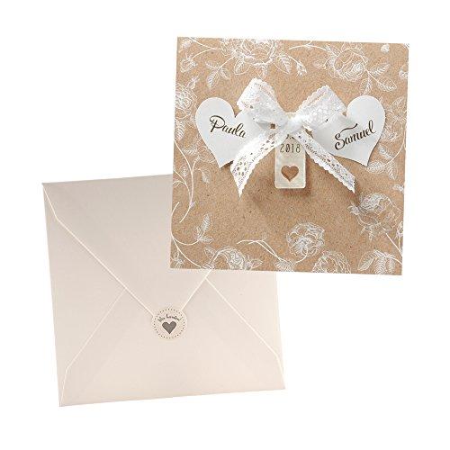 Marcella Rose (Vintage Einladungskarten Marcella für die Hochzeit, Kraftpapier mit Herz u. Spitze - Blanko Hochzeitseinladung mit Umschlag und weddix Siegeletikett)