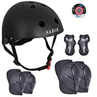 Sarik Kids Bike Helmet Knee Elbow Pads Wrist Guard for Ages 3-8 Years Toddler Boys Girls Helmet Sport Protective Gear Adjustable Scooter Skateboard Rollerblading Skate Cycling Safety Set (Black)