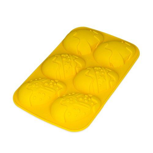 Molde de silicona con forma de huevos de Pascua para pasteles, magdalenas, crema - relleno, 6 formas detalladas de huevos de Pascua, diferentes motivos de Pascua - color: Naranja
