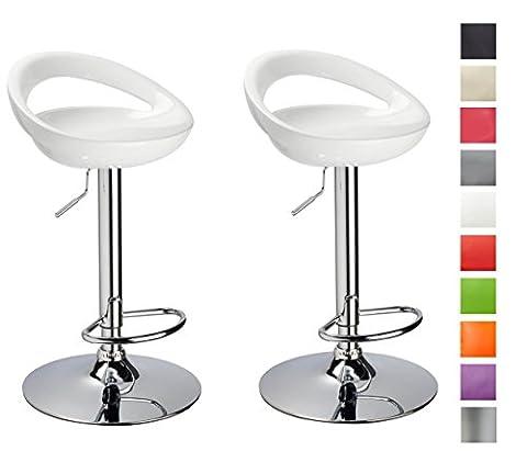 Tabouret de bar Lot de 2 Blanc en plastique sélection de couleur réglage en hauteur Duhome 147