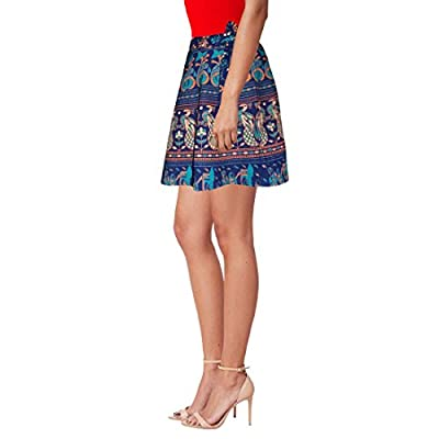 Sttoffa Women's Cotton Animal Print Wrap Around Short Mini Skirt (NTBW15-0064, Blue, Free Size)