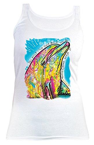 Damen Tanktop Neon Delphin Shirt 4 Girls Beach Tank Top Lady Geburtstag Geschenk geil bedruckt Weiß