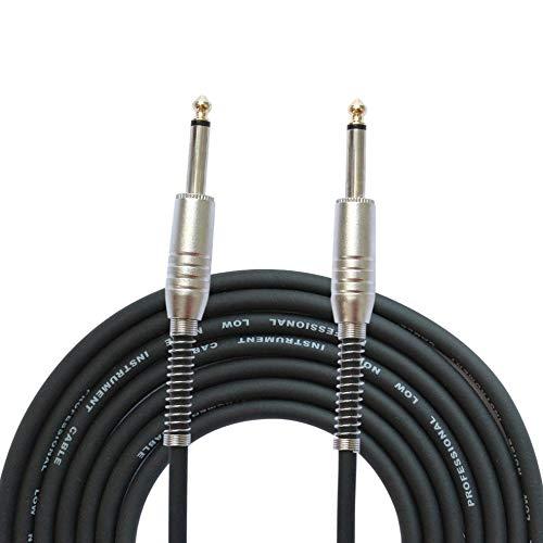 FLGW-24 Mono Jack Cable de Guitarra Audio Macho a Macho Cable Cable Caucho Cobre 6.35mm Enchufe Recto para Instrumentos eléctricos - Negro