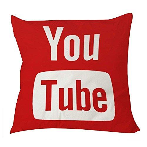 shengpeng 1WillLoanestore YouTube Icon Social Media Pillow Case 18x18 18 X 18 Creative Fashion Cotton Linen Square Decorative Throw Pillow Cover