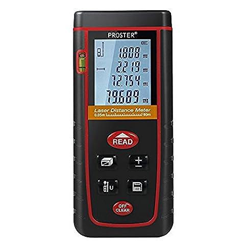 Proster Laser-Entfernungsmesser Digital Laser Distance Range Finder Messwerkzeug mit Wasserwaage und Hintergrundbeleuchtung LCD bis zu 80m